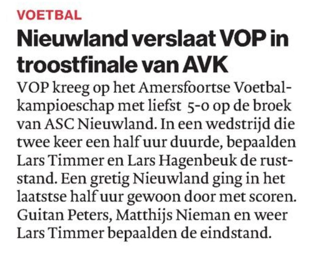 AD 20-08 Nieuwland verslaat VOP in troostfinale van AVK_foto artikel